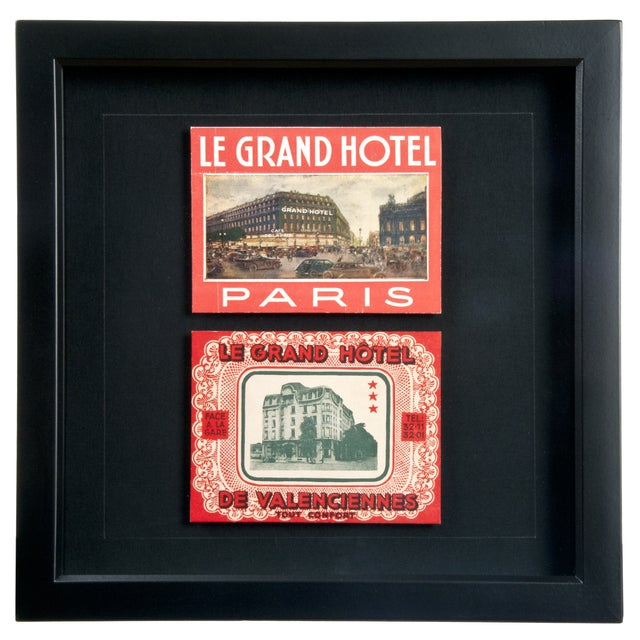 Framed French Grand Hotel Luggage Labels - Image 1 of 2