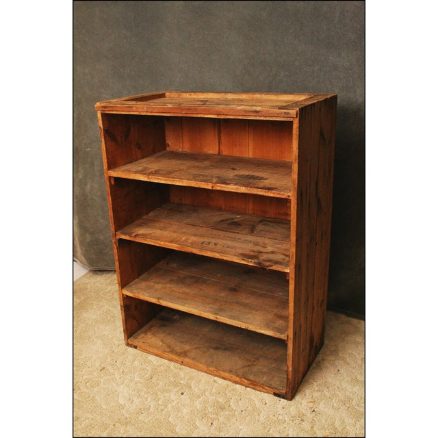 Industrial Vintage Industrial Wood Bookcase made from Underwood Typewriter Crates For Sale - Image 3 of 11