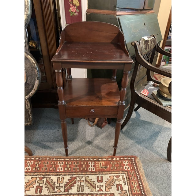 Mahogany American Sheraton style modified wash stand. Has been altered to cover opening so can be used as a side table....