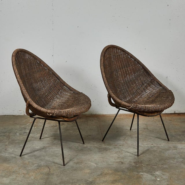 Black Mid-Century Bamboo and Rattan Chairs From France - a Pair For Sale - Image 8 of 11