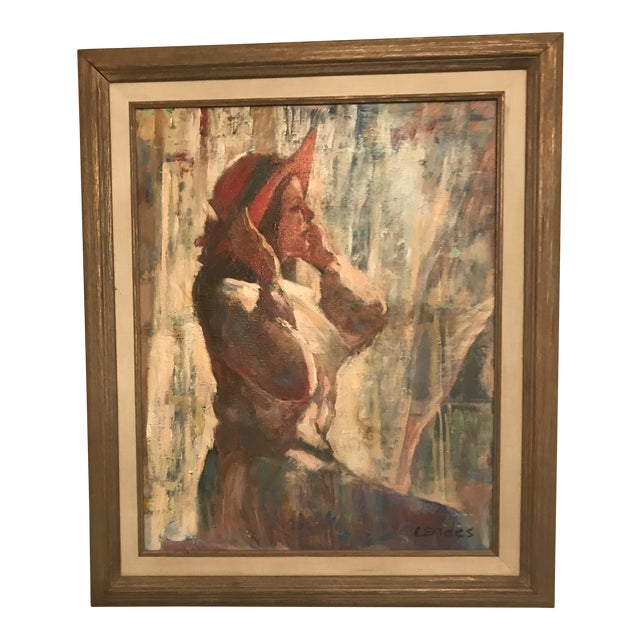 Original Acrylic. Girl With Red Hat. Signed Lower Right-Cordes. For Sale