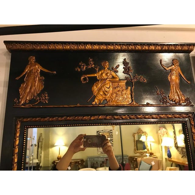 French Ebonized Neoclassical Style Wall or Console Mirror For Sale - Image 10 of 11