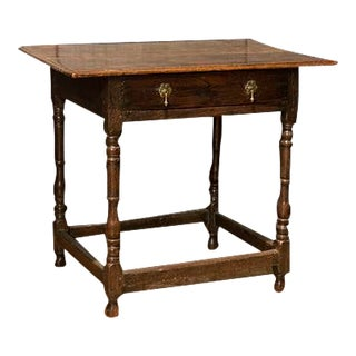 English Oak Lowboy With Single Double Pull Drawer, Square Stretcher Design For Sale