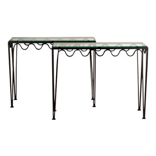 Undulating 'Méandre' Wrought Iron and Glass Consoles by Design Frères - a Pair For Sale