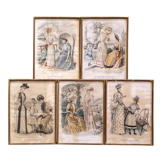 """19th Century French Color Women Fashion Prints Framed Dated 1890 """"Set of Five"""" For Sale"""