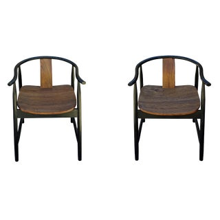Pair Oriental Contemporary Black Brown Fine Design Armchairs For Sale