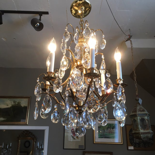 Mid Century Solid Brass Crystal Marie Therese Style French Chandelier 1950s/60s For Sale In Minneapolis - Image 6 of 13