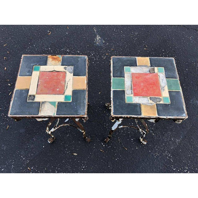 Vintage Iron Tile Top Tables - a Pair For Sale - Image 4 of 10