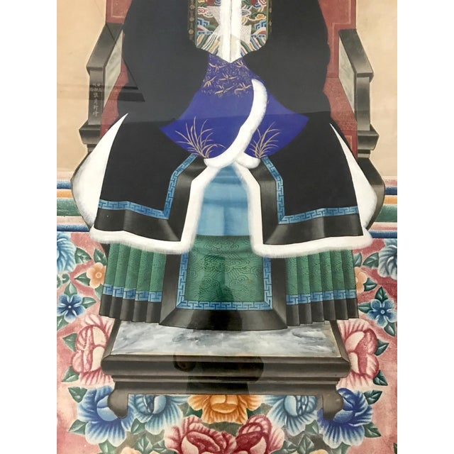 Large Antique Qing Dynasty Ancestor Painting of a Chinese Lady of Importance, Framed For Sale - Image 4 of 10