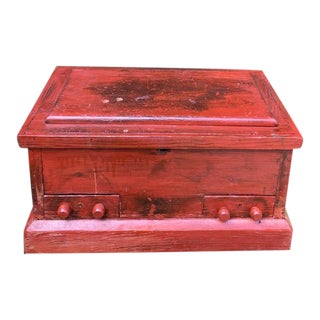 19th Century Primitive Carpenters Painted Chest/Box For Sale