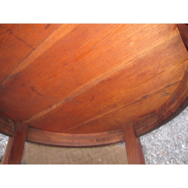 Animal Skin 1900s Mission L&jG Stickley Round Leather Top Center Table For Sale - Image 7 of 13