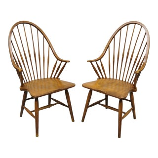 Vintage Maple Wood Fan Back Colonial Windsor Dining Arm Chairs Made in Slovenia - a Pair For Sale