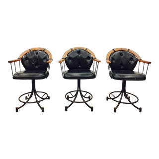 Vintage Iron & Wood Swivel Stools - Set of 3
