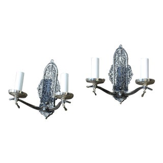 Art Deco Nickel Two Arm Brass Casting Sconces - a Pair For Sale