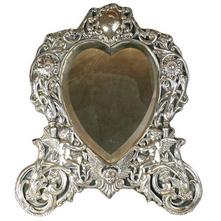 Victorian Sterling Heart Formed Dressing Mirror For Sale