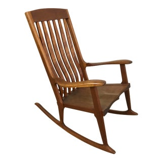Vintage Mid-Century Modern Style Sculptural Carved Rocking Chair Late 20th Century For Sale