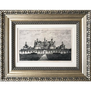 Antique 19th Century French Etching of Chateau Chambord For Sale