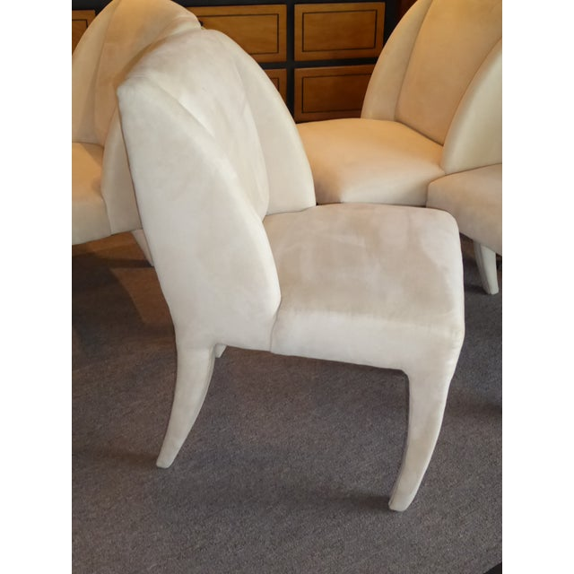 Textile 1980's Directional Scupltural Ultra Suede Modern Dining Chairs - Set of 4 For Sale - Image 7 of 13