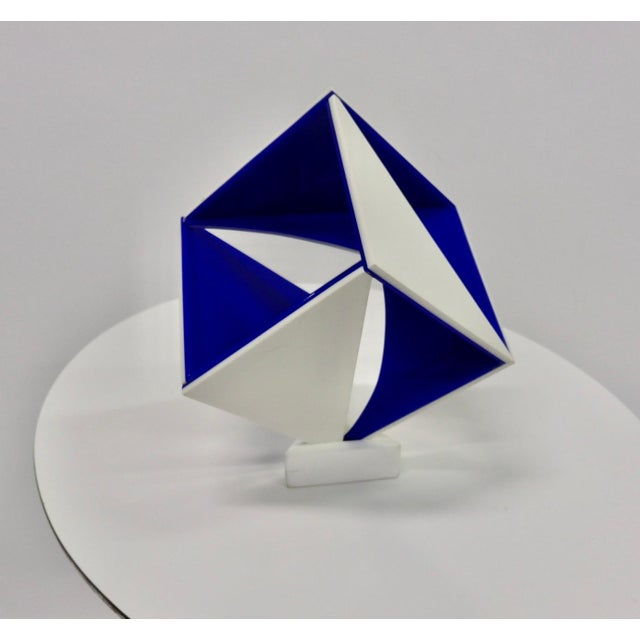 Blue and White Desk Top Lucite Cube Geometric Sculpture For Sale In Detroit - Image 6 of 10