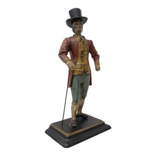 Late 19th Century Hand Painted Spelter Sculpture of a Man W/ Cane & Top Hat For Sale
