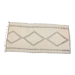 Moroccan Vintage Beni Ouarain Giant White Tribal African Rug For Sale