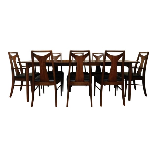 Walnut Mid Century Modern Kent Coffey Perspecta Dining Table 8 Chairs Set For Sale