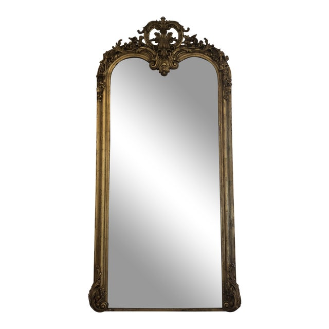 Large 19th Century French Guilt and Wood Gesso Mirror For Sale