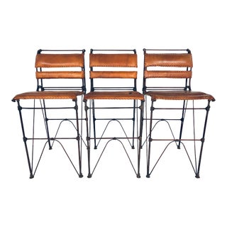 Ilana Goor Leather and Iron Bar Stools - Set of 3 For Sale