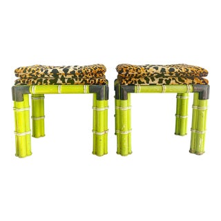 Pair of Palm Beach Style Faux Bamboo Stools With Leopard Top Cushions For Sale