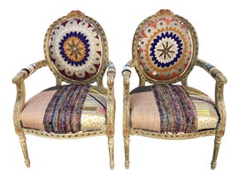 Image of Orange Bergere Chairs
