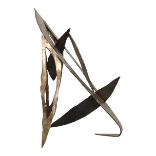1980s Abstract Geometric Welded Steel Sculpture For Sale