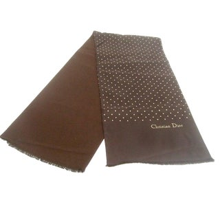 1970s Christian Dior Brown Silk Polkadot Oblong Scarf For Sale