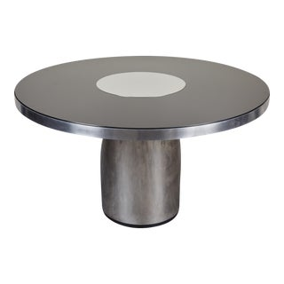 Brueton Style Round Hall Steel and Glass Table For Sale