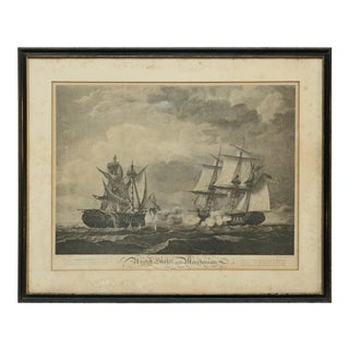 "Mid 19th Century ""War of 1812 Macedonia Battleship"" Seascape Etching, Framed For Sale"
