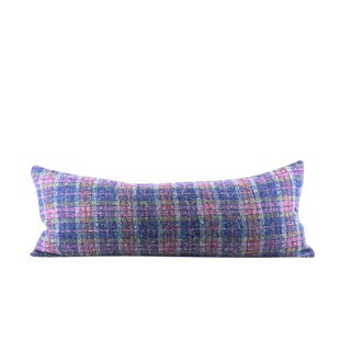 "Blue and Pink Plaid Wool Lumbar Pillow 13"" x 34"" For Sale"
