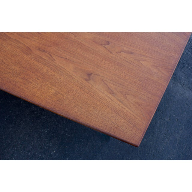 Massive Edward Wormley for Dunbar Walnut and Mahogany Dining / Conference Table For Sale - Image 11 of 12