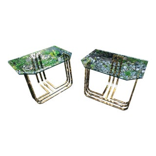 Vintage Glam Brass and Glass Side Tables, Pair For Sale