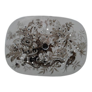 Antique Brown and White English Tray For Sale