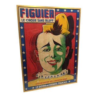 1950s Vintage Original French Circus Clown Poster For Sale