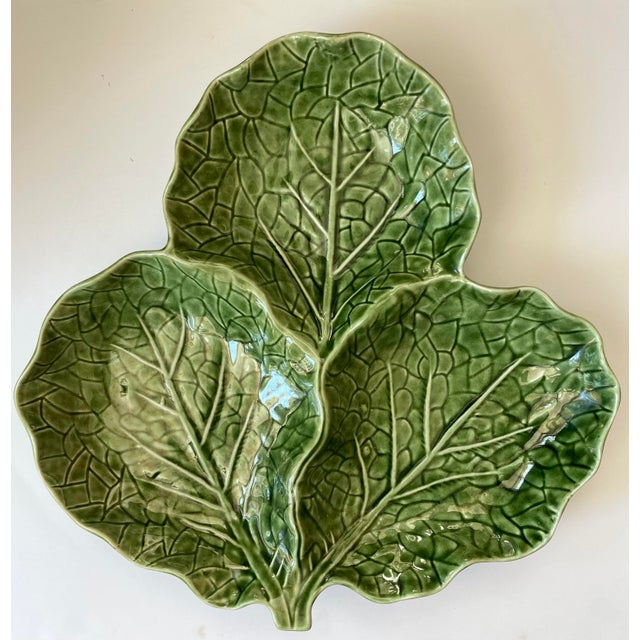 Bordallo Pinheiro Green Cabbage Leaf 3 Part Serving Platter Made in Portugal For Sale - Image 4 of 11