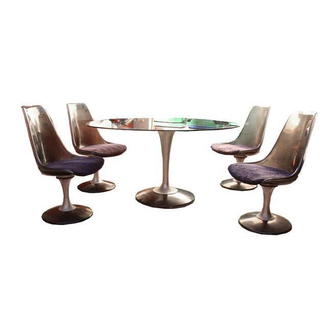 Chromcraft Smoked Glass Dining Set For Sale - Image 7 of 10