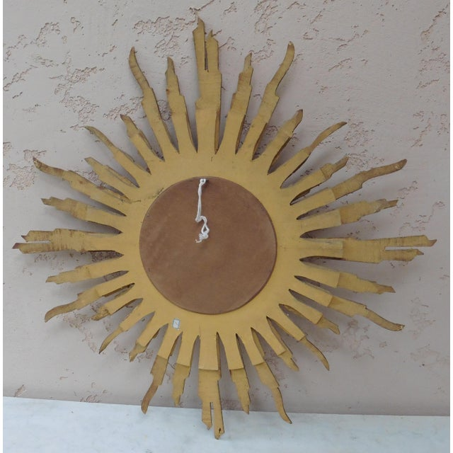 French Convex Sunburst Gilded Wood Mirror For Sale - Image 4 of 6