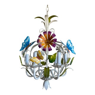 Italian Butterfly Garden Chandelier For Sale