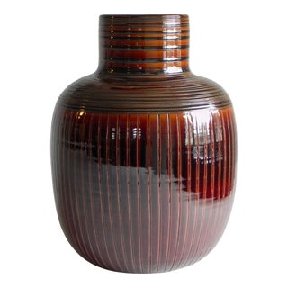 Mid-Century Modern Ribbed Red Vase For Sale