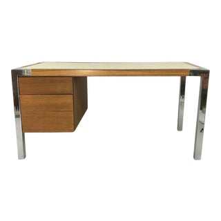 1970s Oak and Chrome Desk Attributed to Thonet. For Sale