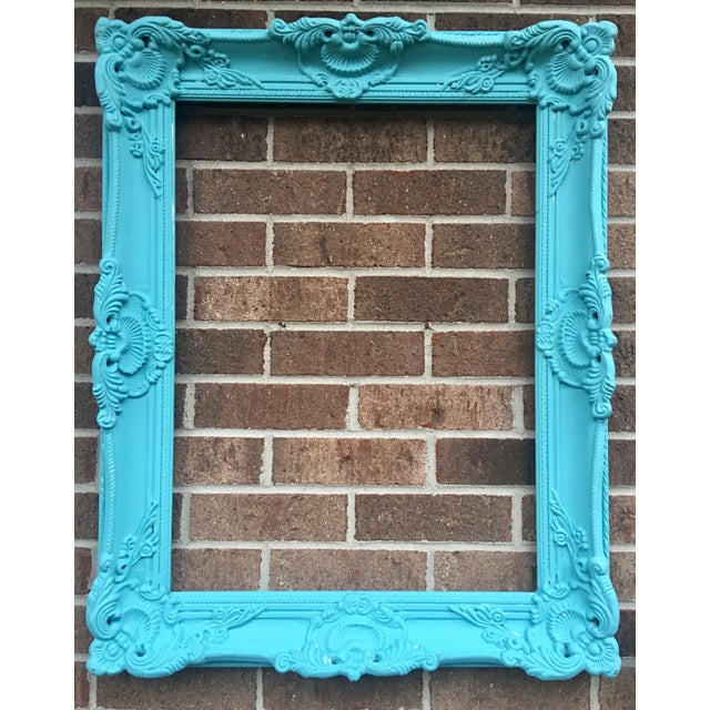 Antique Tiffany Blue Plaster Picture Frame - Image 7 of 10