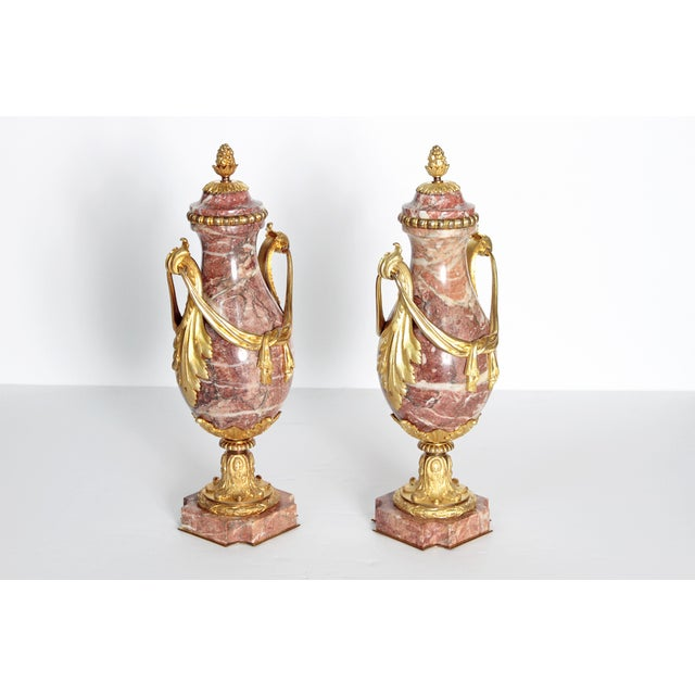 Pair of 19th Century Louis XVI Style Marble and Ormolu Mounted Cassolettes - Image 3 of 11