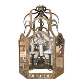 Charles Pollock William Switzer 6 Lite Bronze Patinated Lantern Chandelier For Sale