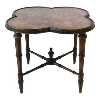 Walnut Alhambra Clover Top End Table For Sale