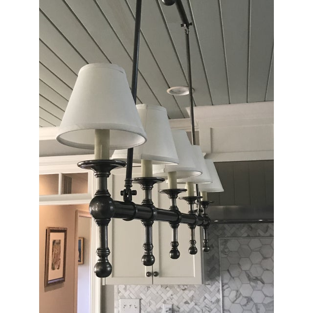 Contemporary Visual Comfort Linear 5 Light Pendant in Antique Nickel With Silk Shades. For Sale - Image 3 of 6